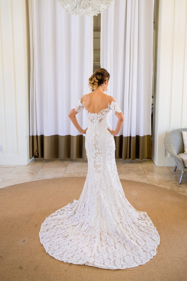 wedding portrait of back of bride's dress and train