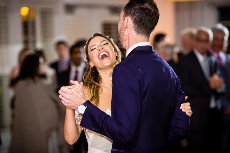wedding photography of bride and groom during their first dance